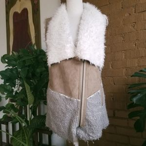 Anthro Saturday Sunday Faux Fur Brown Sherpa Vest